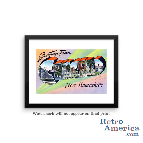 Greetings from Concord New Hampshire NH Postcard Framed Wall Art