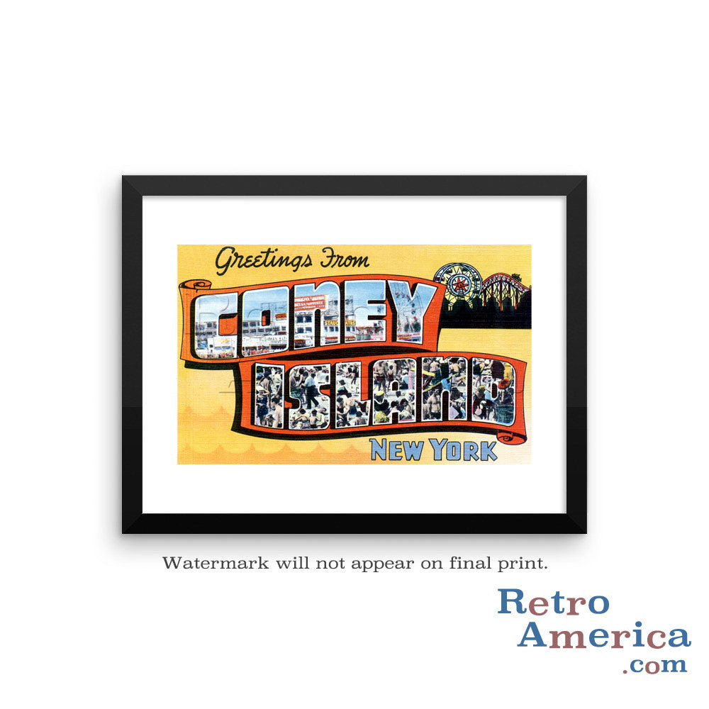 Greetings from Coney Island New York NY 3 Postcard Framed Wall Art