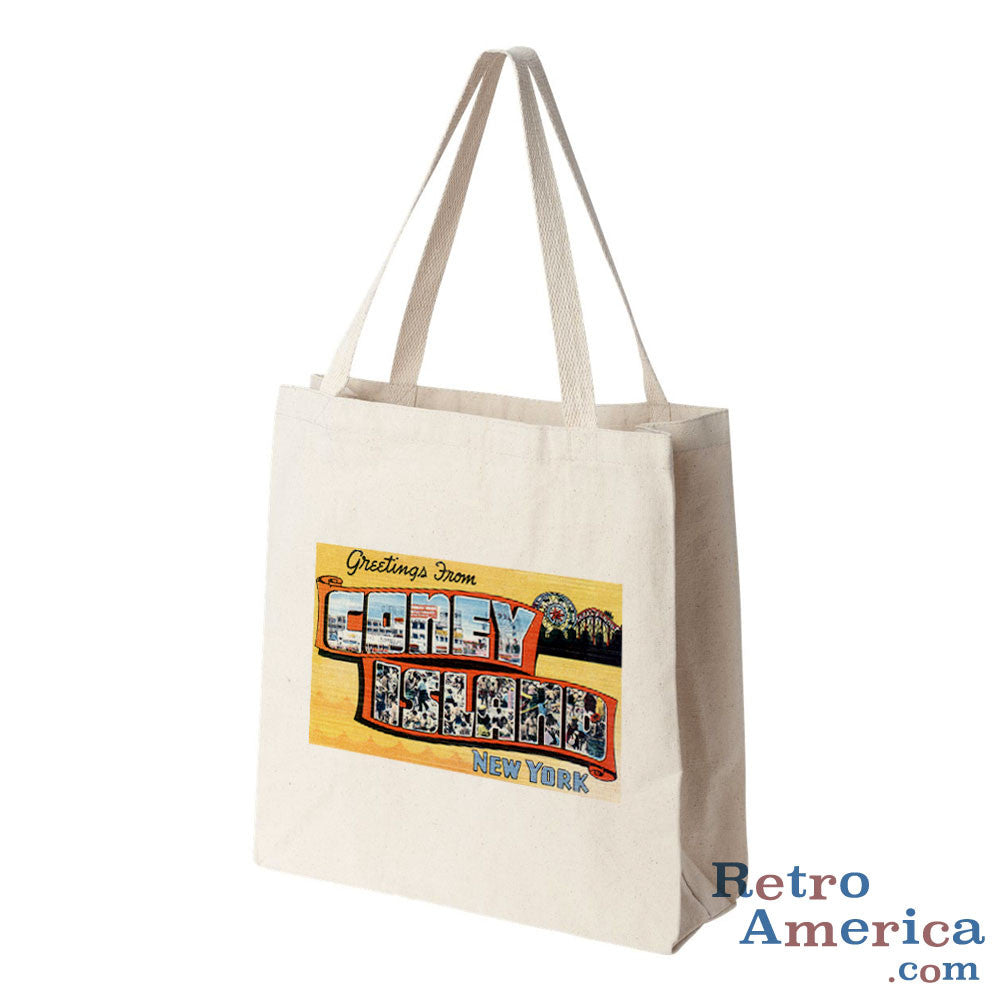 Greetings from Coney Island New York NY 3 Postcard Tote Bag