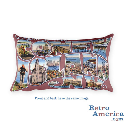 Greetings from Coney Island New York Throw Pillow 1