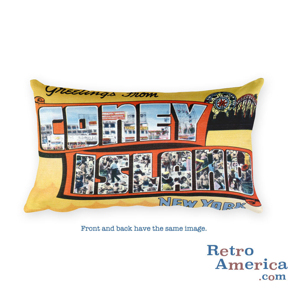Greetings from Coney Island New York Throw Pillow 3