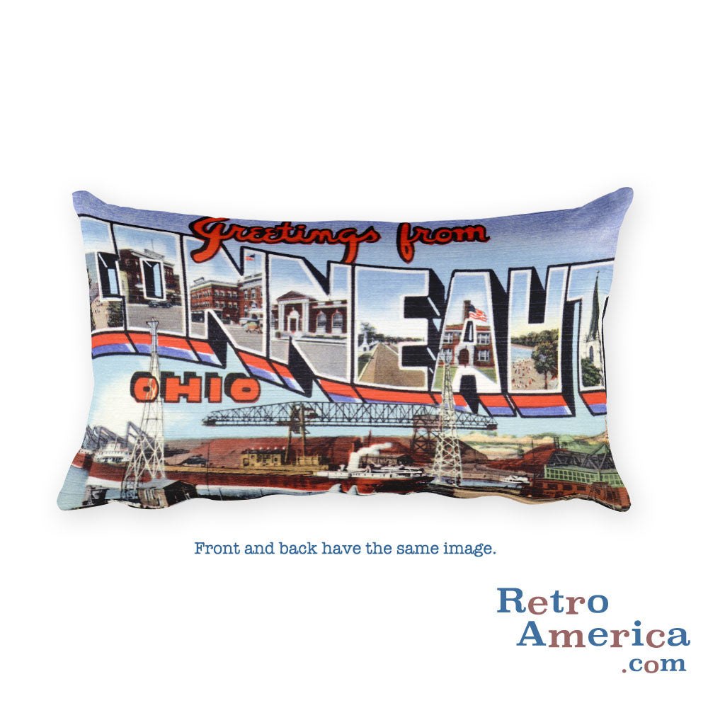 Greetings from Conneaut Ohio Throw Pillow