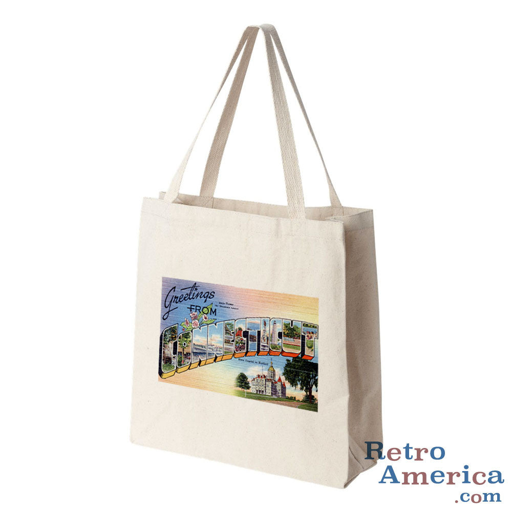 Greetings from Connecticut CT Postcard Tote Bag