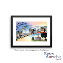 Greetings from Connecticut CT Postcard Framed Wall Art