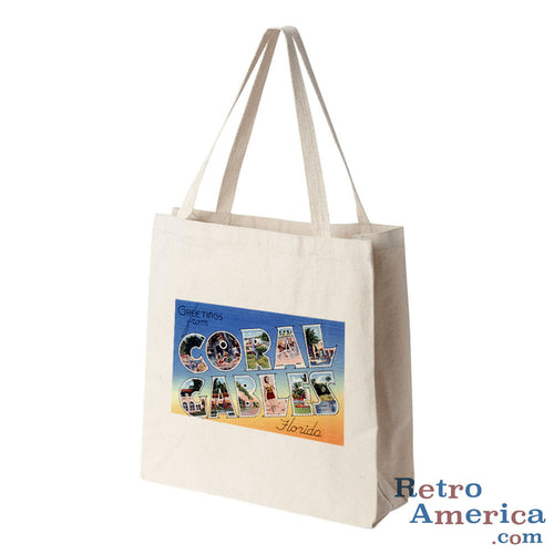 Greetings from Coral Gables Florida FL 1 Postcard Tote Bag