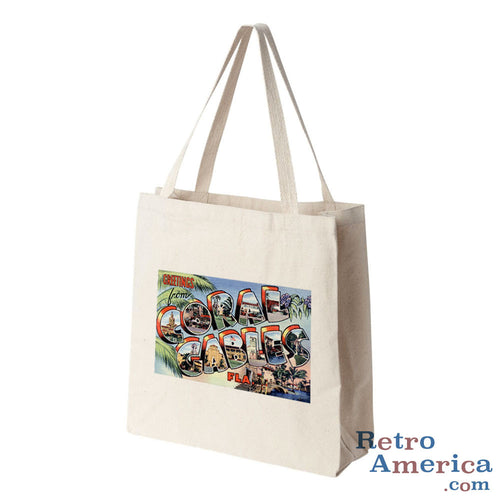 Greetings from Coral Gables Florida FL 2 Postcard Tote Bag