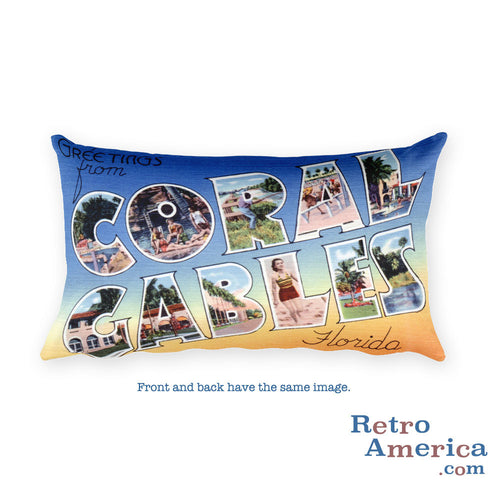 Greetings from Coral Gables Florida Throw Pillow 1