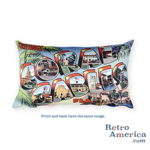 Greetings from Coral Gables Florida Throw Pillow 2