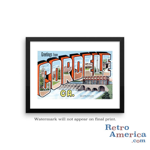 Greetings from Cordele Georgia GA Postcard Framed Wall Art