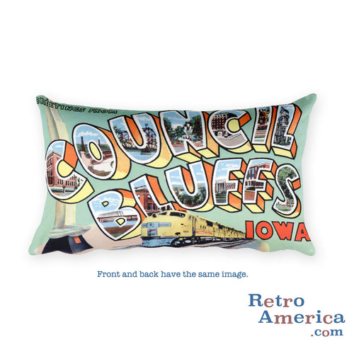Greetings from Council Bluffs Iowa Throw Pillow