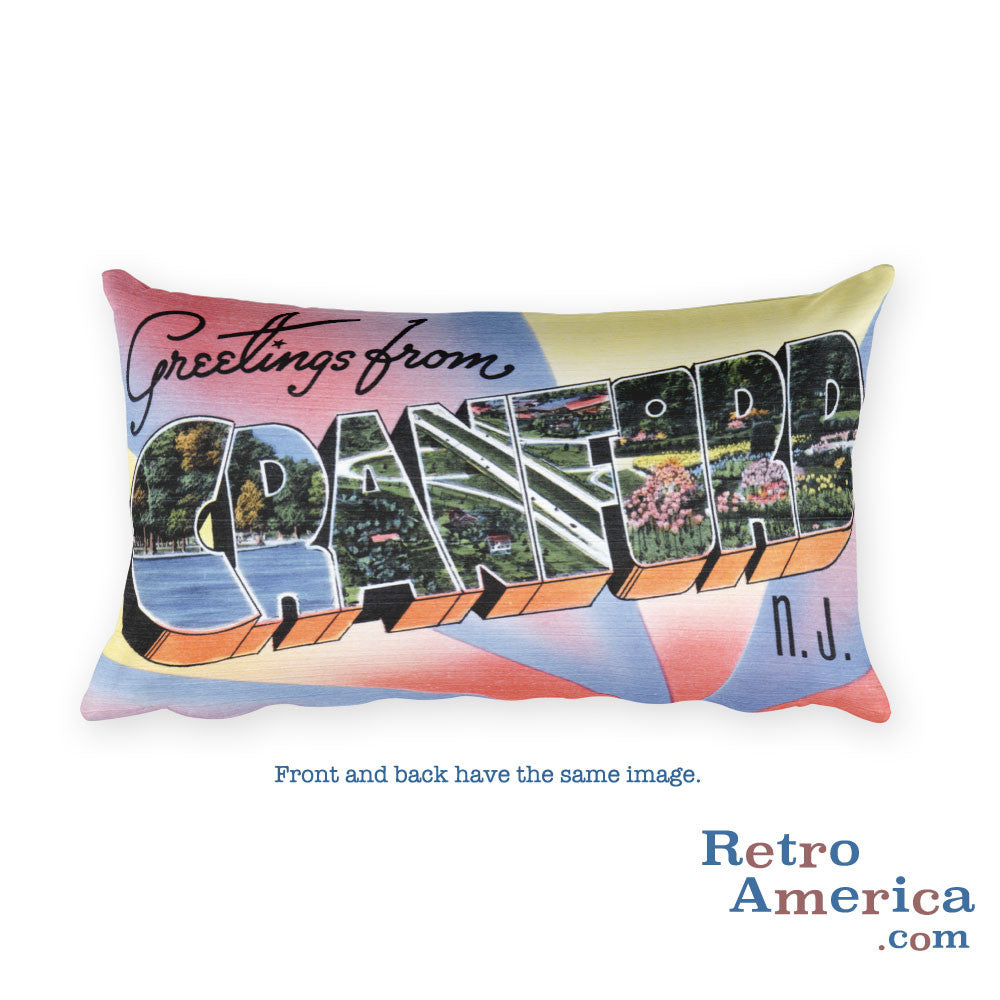 Greetings from Cranford New Jersey Throw Pillow