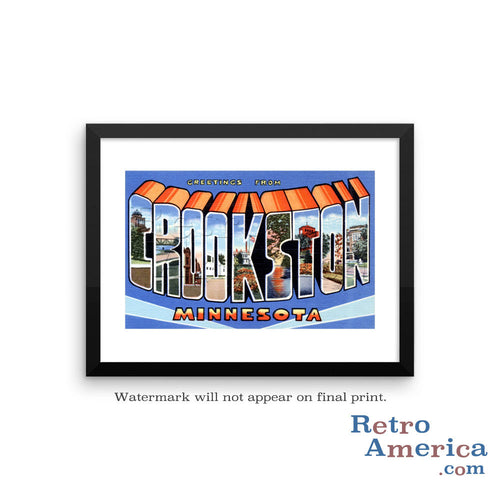 Greetings from Crookston Minnesota MN Postcard Framed Wall Art