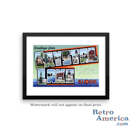 Greetings from Crystal Lake Illinois IL Postcard Framed Wall Art