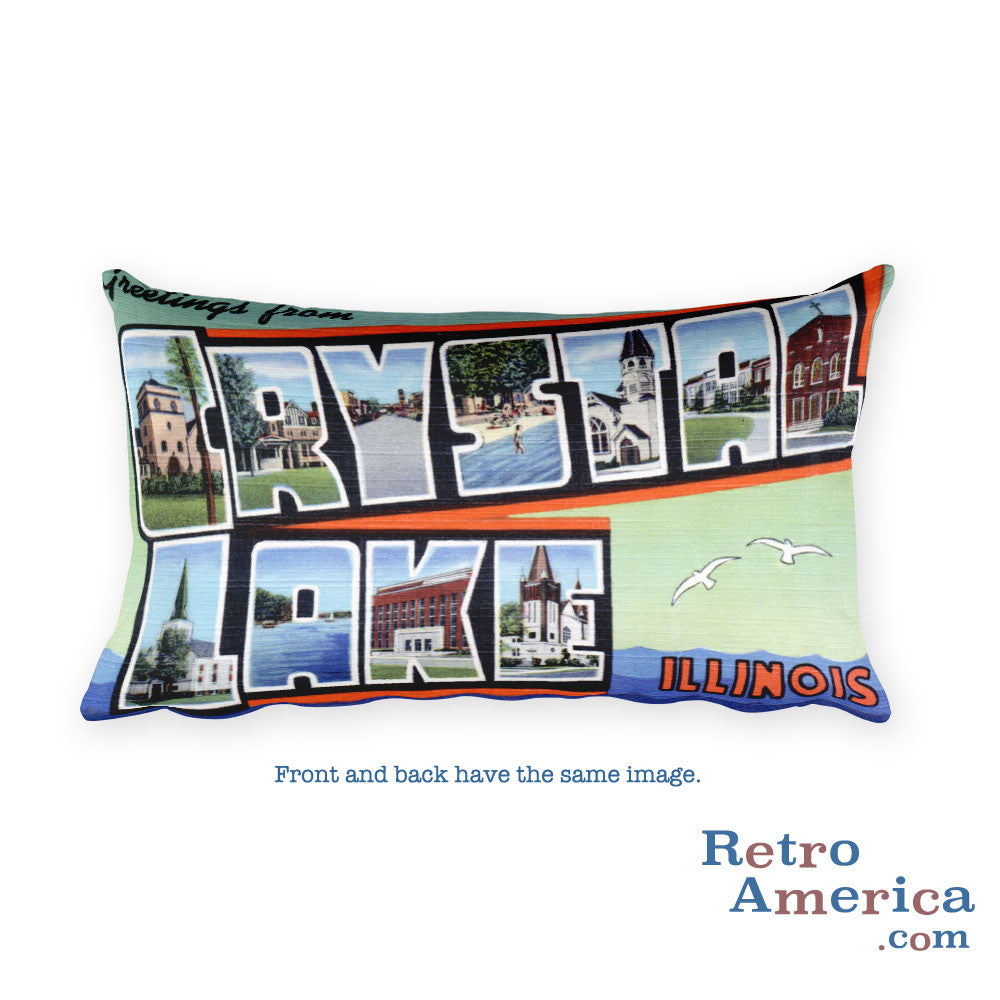Greetings from Crystal Lake Illinois Throw Pillow