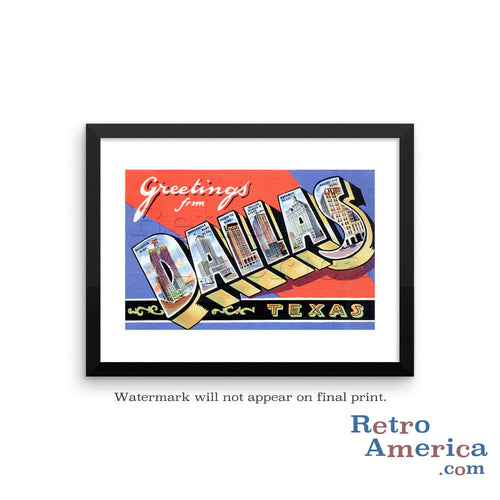 Greetings from Dallas Texas TX 1 Postcard Framed Wall Art