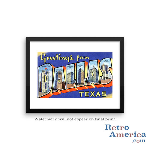Greetings from Dallas Texas TX 2 Postcard Framed Wall Art