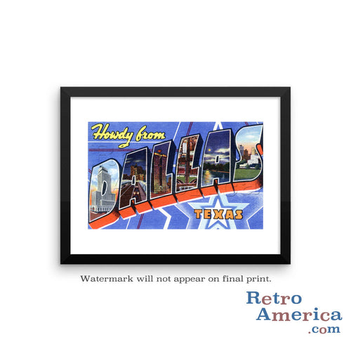 Greetings from Dallas Texas TX 3 Postcard Framed Wall Art