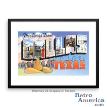 Greetings from Dallas Texas TX 4 Postcard Framed Wall Art