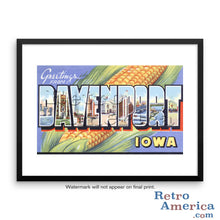 Greetings from Davenport Iowa IA Postcard Framed Wall Art
