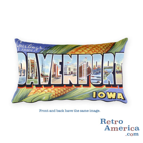Greetings from Davenport Iowa Throw Pillow