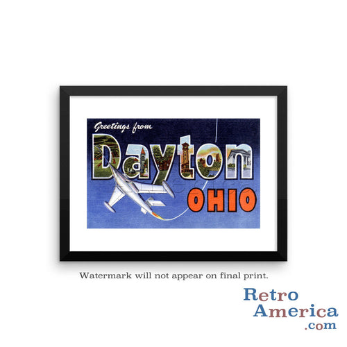 Greetings from Dayton Ohio OH Postcard Framed Wall Art