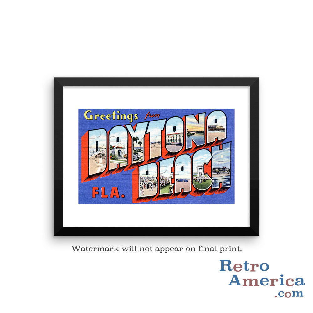 Greetings from Daytona Beach Florida FL 2 Postcard Framed Wall Art