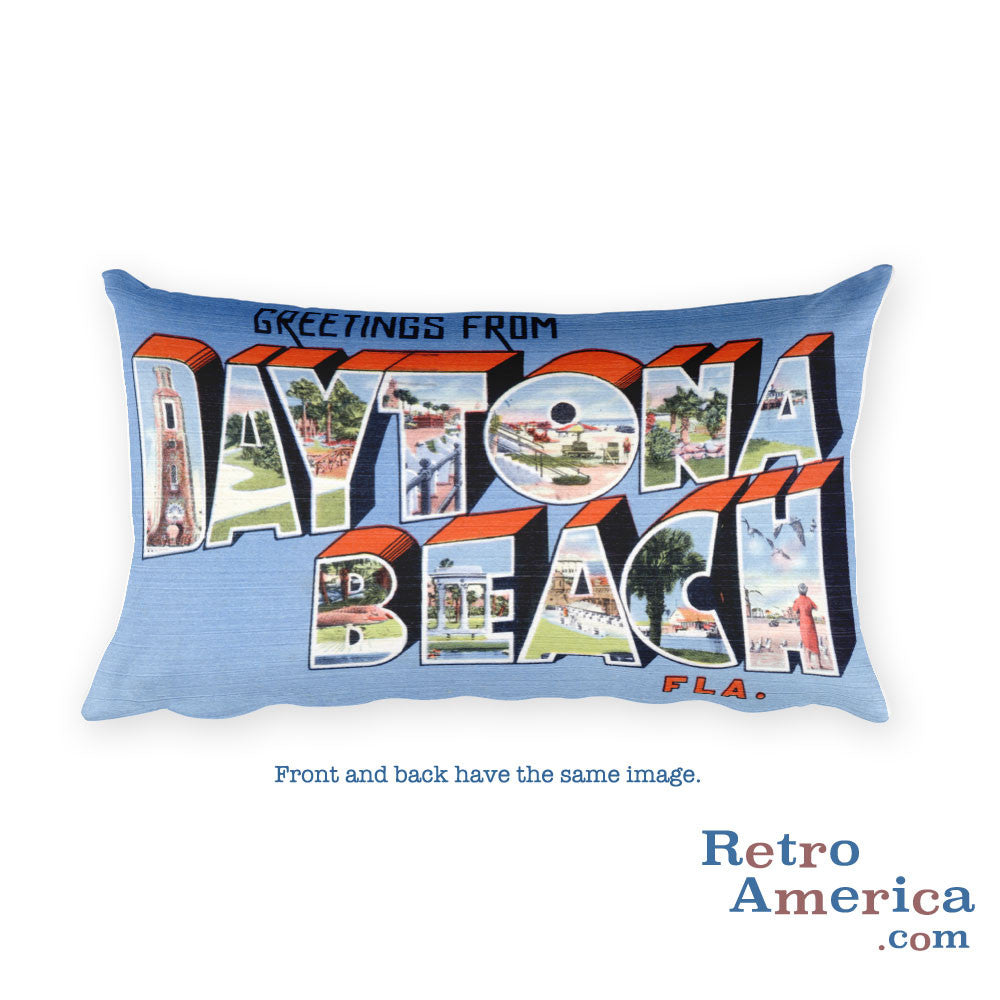 Greetings from Daytona Beach Florida Throw Pillow 1