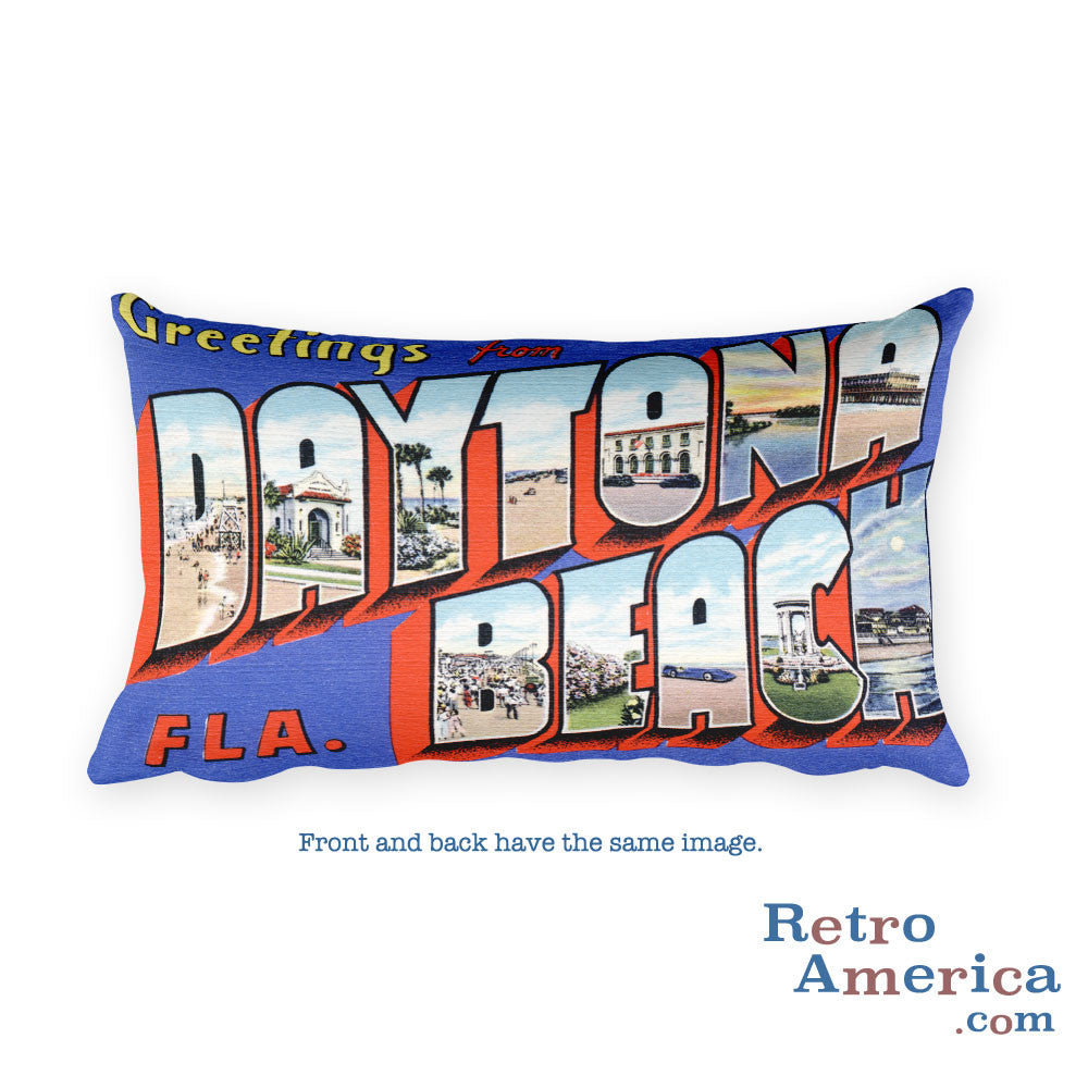 Greetings from Daytona Beach Florida Throw Pillow 3