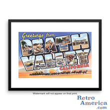 Greetings from Death Valley California CA Postcard Framed Wall Art