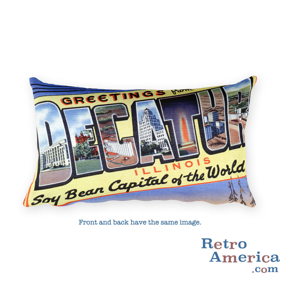 Greetings from Decatur Illinois Throw Pillow