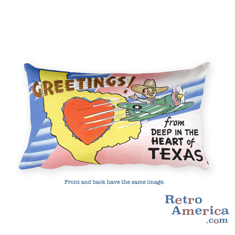 Greetings from Deep In The Heart Of Texas Throw Pillow