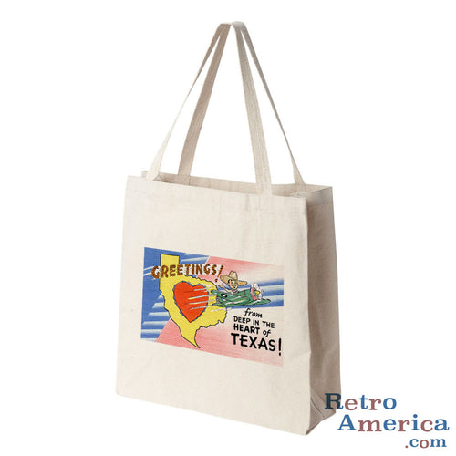 Greetings from Deep In The Heart Of Texas TX Postcard Tote Bag