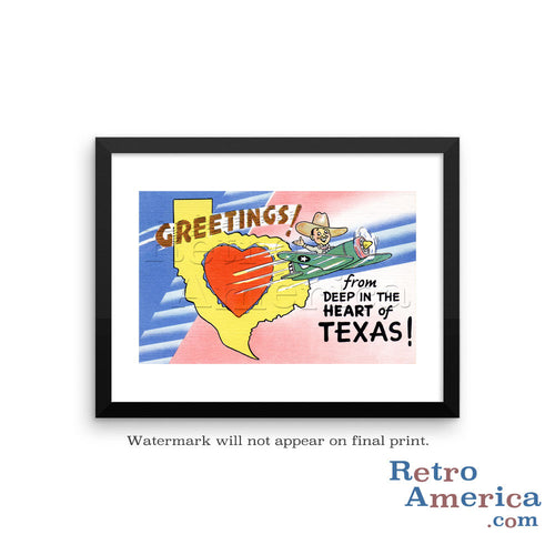 Greetings from Deep In The Heart Of Texas TX Postcard Framed Wall Art