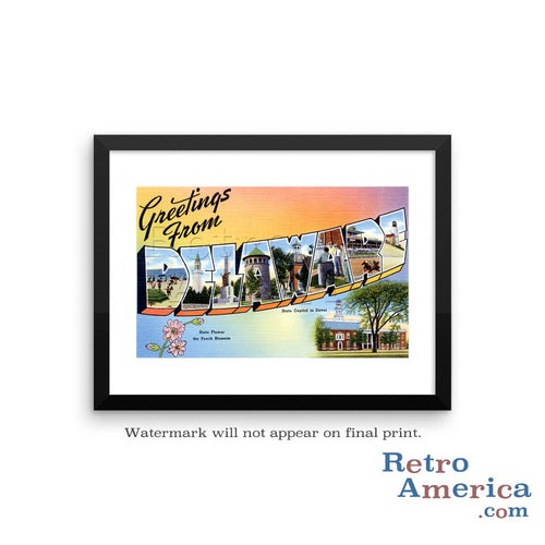 Greetings from Delaware DE 1 Postcard Framed Wall Art