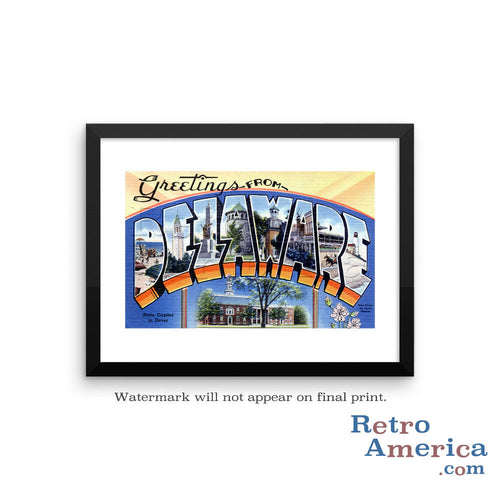 Greetings from Delaware DE 2 Postcard Framed Wall Art