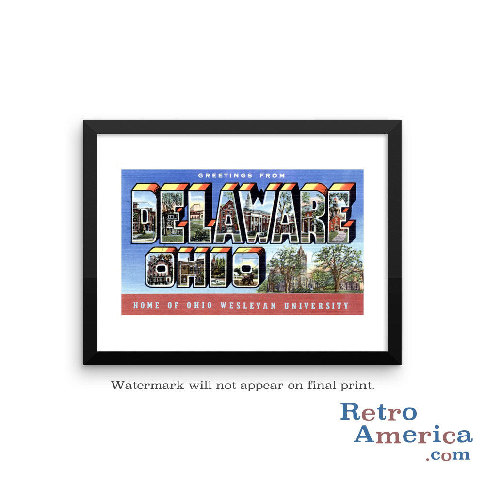 Greetings from Delaware Ohio OH Postcard Framed Wall Art