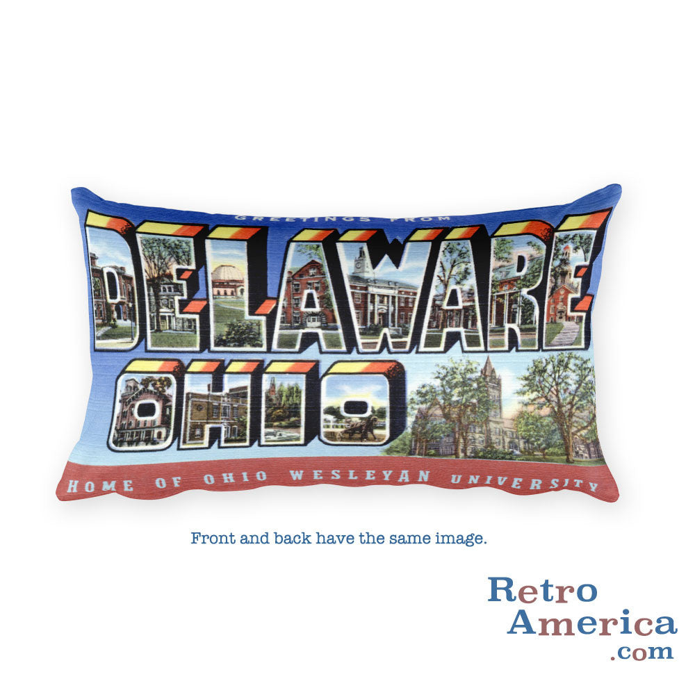 Greetings from Delaware Ohio Throw Pillow