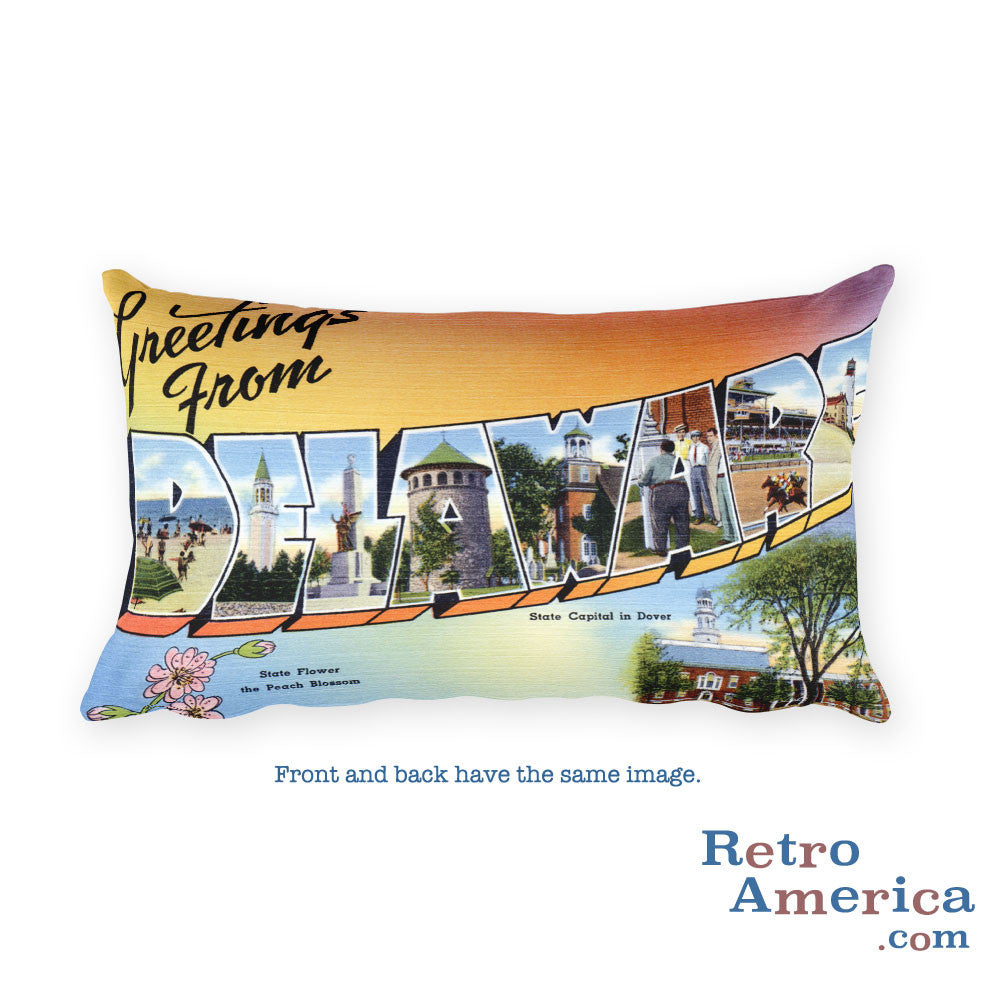 Greetings from Delaware Throw Pillow 1