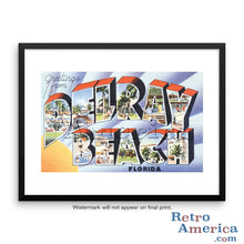 Greetings from Delray Beach Florida FL Postcard Framed Wall Art