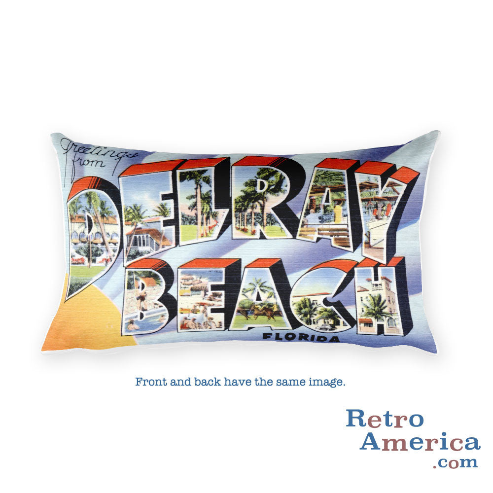 Greetings from Delray Beach Florida Throw Pillow