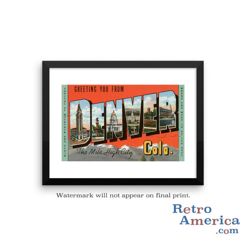 Greetings from Denver Colorado CO 1 Postcard Framed Wall Art