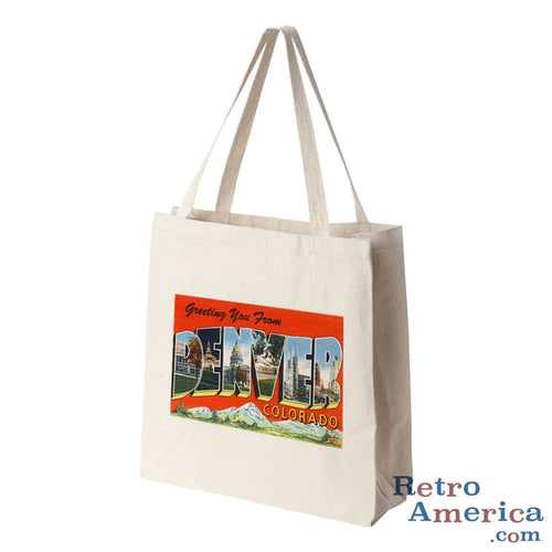 Greetings from Denver Colorado CO 2 Postcard Tote Bag