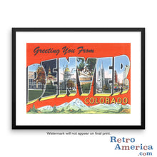 Greetings from Denver Colorado CO 2 Postcard Framed Wall Art