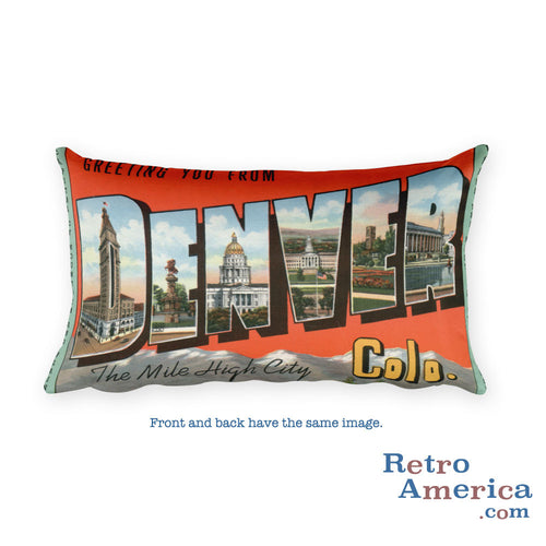 Greetings from Denver Colorado Throw Pillow 1