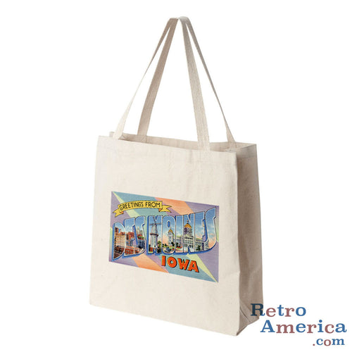 Greetings from Des Moines Iowa IA 1 Postcard Tote Bag