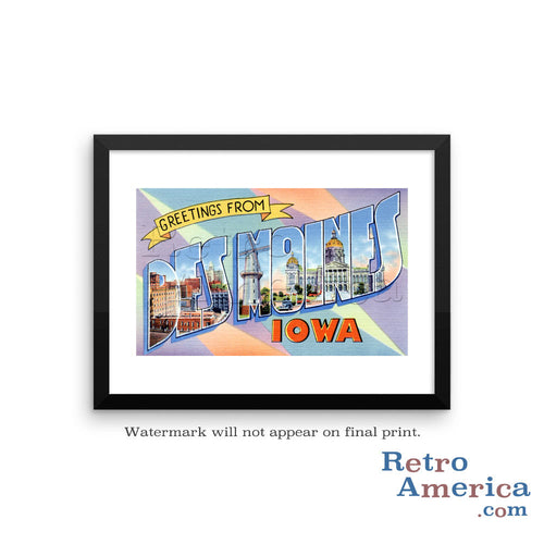 Greetings from Des Moines Iowa IA 1 Postcard Framed Wall Art