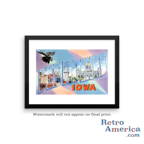 Greetings from Des Moines Iowa IA 2 Postcard Framed Wall Art