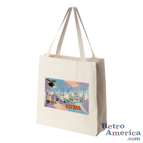 Greetings from Des Moines Iowa IA 2 Postcard Tote Bag