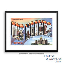 Greetings from Des Moines Iowa IA 3 Postcard Framed Wall Art