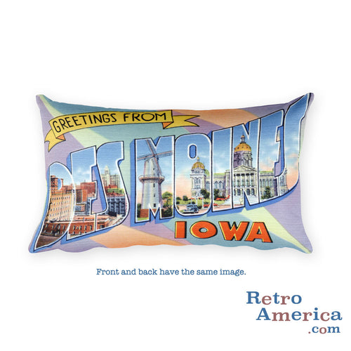 Greetings from Des Moines Iowa Throw Pillow 1